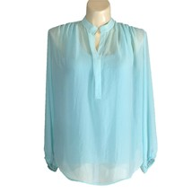 Karen Kane XL Top Blouse Aqua Blue Long Sl Ruched High Low V Neck Tank L... - $22.95