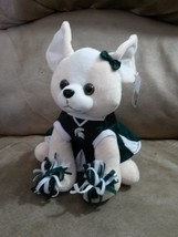 "MSU SPARTANS CHEERLEADER DOG New 2013 Plush Tags 10"" MICHIGAN STATE UNIV... - $9.99"