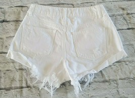 Forever 21 Shorts 27 Womens Light Wash White High Rise Raw Hem Distresse... - $12.65