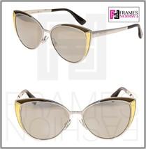 JIMMY CHOO DOMI Palladium Mirrored Bronze Leather Cat Eye Metal Sunglasses - $228.99