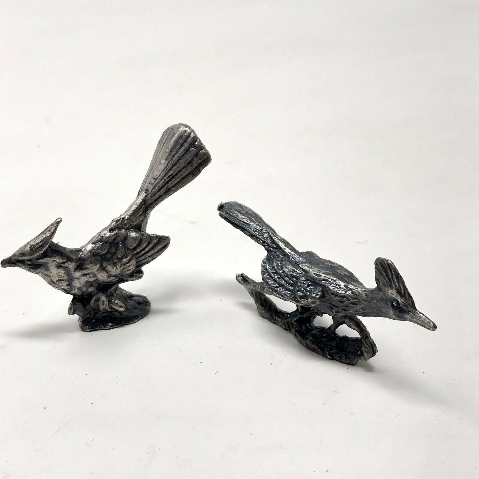 2 vintage pewter bird figurines