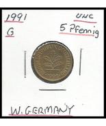 1991 G, West Germany: 5 Pfennig coin - $0.67