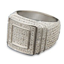 Men's Hip Hop 14k Gold Plated All Around CZ Band Double Square Style Pinky Ring - £145.03 GBP