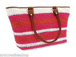 DKNY Pink Orange Straw Brown Leather Large Resort Beach Shopper Tote NWT - $93.56
