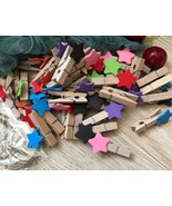 Mixed colorful star pin clothespin,wood clips,children's party favor dec... - $3.90+