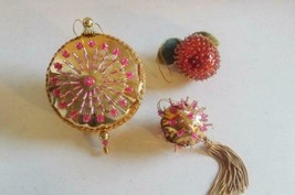 Vintage 3 Jeweled beaded sequined hand-made CHRISTMAS ORNAMENTS - $37.62