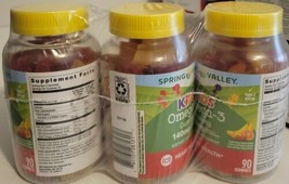 Kid's OMEGA-3 Gummy 140mg Heart Health 90 ct X 3 = 270 Gummies BB 1/23 Free Ship - $33.66