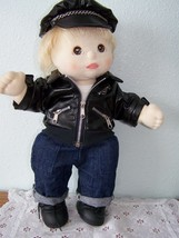 1985 MY CHILD BOY DOLL Blond hair Brown Eyes Motorcyle Leather Jacket , ... - $68.31