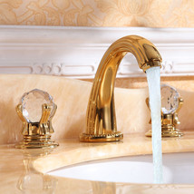 Free ship Gold 8 inch widespread bathroom Lavatory Sink faucet crystal h... - $158.39