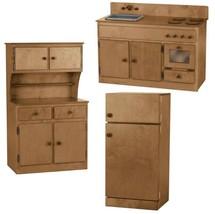 3 PIECE KITCHEN PLAY SET -  Amish Handmade Wood Toy Furniture USA, NATURAL - $1,159.31