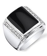 Men's Sterling Silver Black Onyx & CZ Ring - $139.99