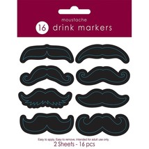 16 Mustache Stickers for Drinks Barware Novelty Man Cave Party New Years... - $3.95