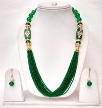 New Indian Gold Plated Green Beads Kundan Fashion Necklace Jewellery Set - $17.89