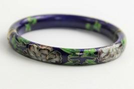 VINTAGE ESTATE Jewelry CHINESE CLOISONNE ENAMEL HINGED BANGLE BRACELET C... - $65.00