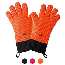 JIESUO Extra Long Oven Mitts Heat Resistant Silicone BBQ Gloves, in FDA ... - $20.47