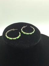 Sterling Silver Green Turquoise Hoop Earrings - $45.00