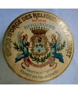 Early French Religious Lithographed Tin with Logo on front and scene of ... - $23.70