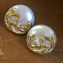 Vintage Large Pearly Cream Plastic Disk w Ornate Goldtone Overlay Screwb... - $13.09