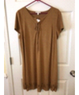 Love Fire Boho Faux Suede Lace up top with Eyelet at hem line Size 2xl - $34.00