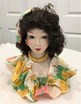 Vintage 50s-60s Beautiful Lady Woman Bust W/ Wig & Necklace Ceramic / Po... - $222.74