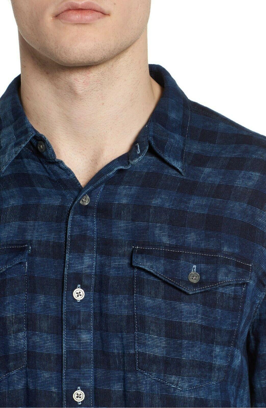 Mens John Varvatos Star USA Slim Fit Blue Plaid Sport Shirt NWT Size Small
