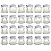 1.5 oz Hexagon Mini Glass Jars with White Lids and Labels Pack of 24 - $19.59