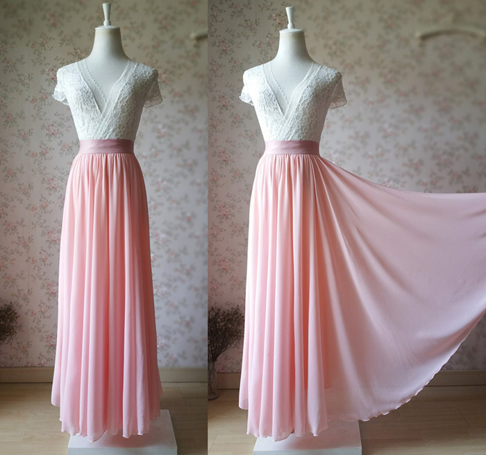 High Waisted Chiffon Maxi Skirt GRAY Wedding Party Bridesmaid Maxi Chiffon Skirt