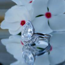 2.11CT Pear Shape D/VVS1 Diamond 14K White Gold Over Silver Engagement Ring Set - $116.79