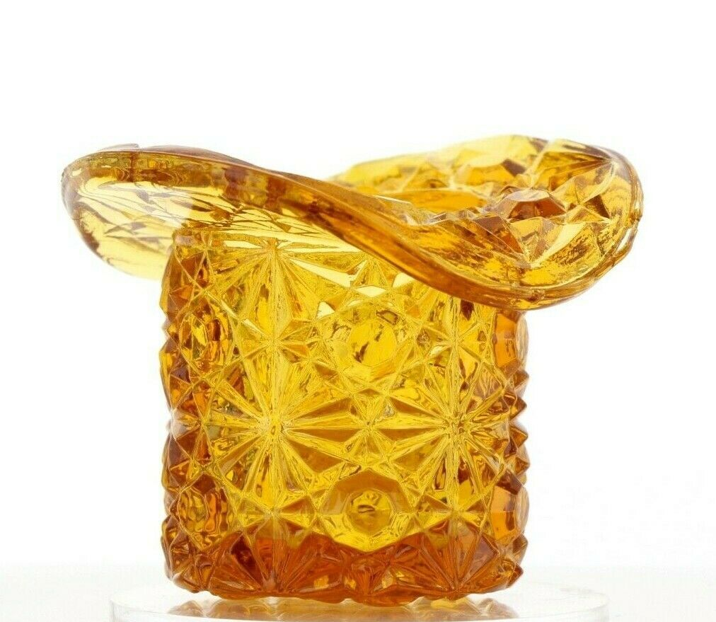 Vintage Glass Toothpick Holder Tiny Daisy & Button Hat