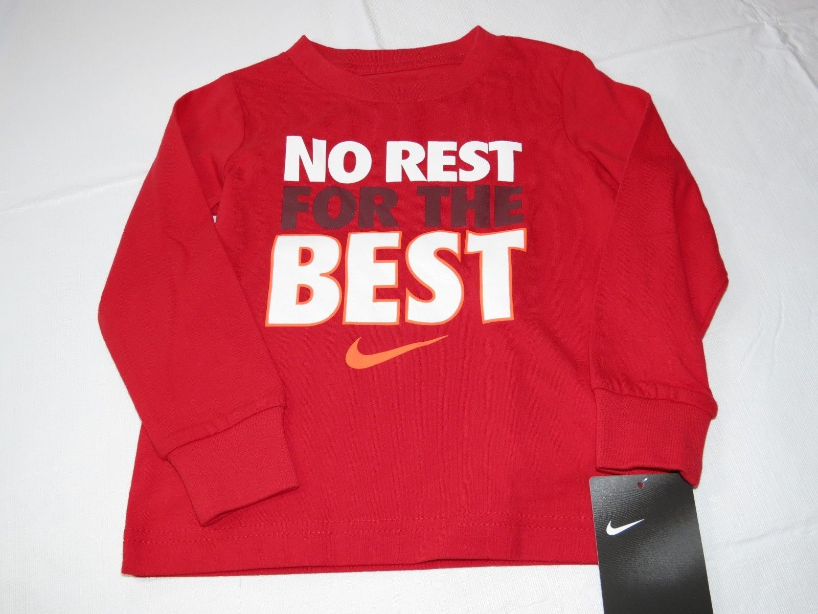 Boys Youth Nike The Nike Tee 4 XS Athletic Cut long sleeve shirt 8MC441 U10 red