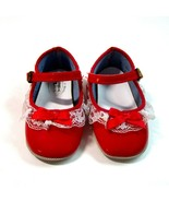 Vintage Wee Walker Red Patent Lace Trimmed Toddler Baby Shoes Size 2- US... - $17.99