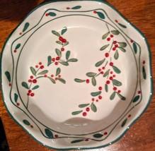 Set Of 4 Vintage Mesa Stoneware Christmas Holly Scolloped Edge Serving D... - $18.99