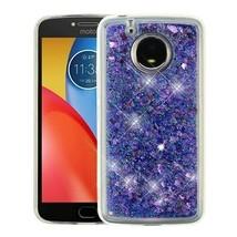 For MOTOROLA Moto E4 Plus Hearts & Purple Quicksand Glitter Hybrid Case ... - $11.07