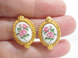 AVON Porcelain PINK ROSE Gold Plate Frame Clip on Earring Vintage Estate... - $14.84