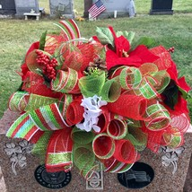 Christmas Poinsettia Grave Saddle Handmade Deco Mesh - $92.99