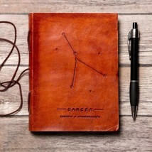 Cancer Zodiac Handmade Leather Journal - $38.00