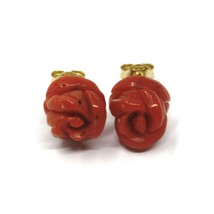 18K YELLOW GOLD RED CORAL FLOWER ROSES BUTTON EARRINGS, 8.5 MM, 0.33 INCHES image 1
