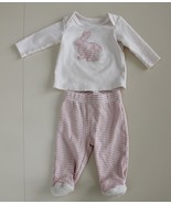 First Impressions 0-3 M - 2 PC Outfit Bunny L/S Top Pink Ivory Striped P... - $10.86