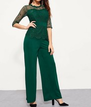 Round Neck Short Sleeve Contrast Lace Elegant Jumpsuit Casual Work Party  - $51.99