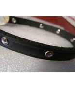 "real leather dog collar made in usa black / rhinestones 9.5 - 11"" - $13.00"