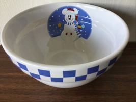 MICKEY MOUSE Snowman Decorative Novelty Bowl DISNEY White blue cereal bo... - $44.55