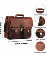 Genuine Leather Briefcase Satchel Large leather Laptop Bag For men and W... - $66.55