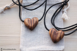 Pair of wooden heart pendants of Awuora, carved wooden hearts,necklaces hearts - $30.12