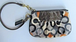 COACH WRISTLET Pouch Bag Wallet in Gray/Black/Gold/White Satin Texture! ... - $16.81