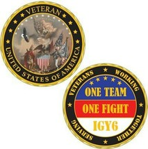 "UNITED STATES OF AMERICA VETERAN ONE TEAM ONE FIGHT 1.75"" CHALLENGE COIN - $18.04"