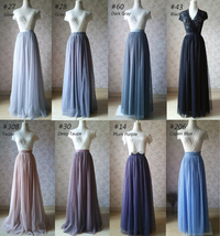 TIERED Long Bridesmaid Tulle Skirt Blue Puffy Maxi Plus Size Tiered Tulle Skirt  image 14