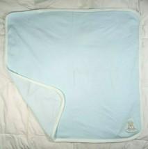 LITTLE ME Baby Boy Bear Blanket Blue White Stripes Cotton 25x30 Flawless Cloud - $13.93