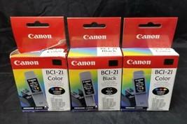 Genuine Canon BCI-21 Black & Color Ink Cartridge Set of 3, NEW Unopened Sealed  - $12.59
