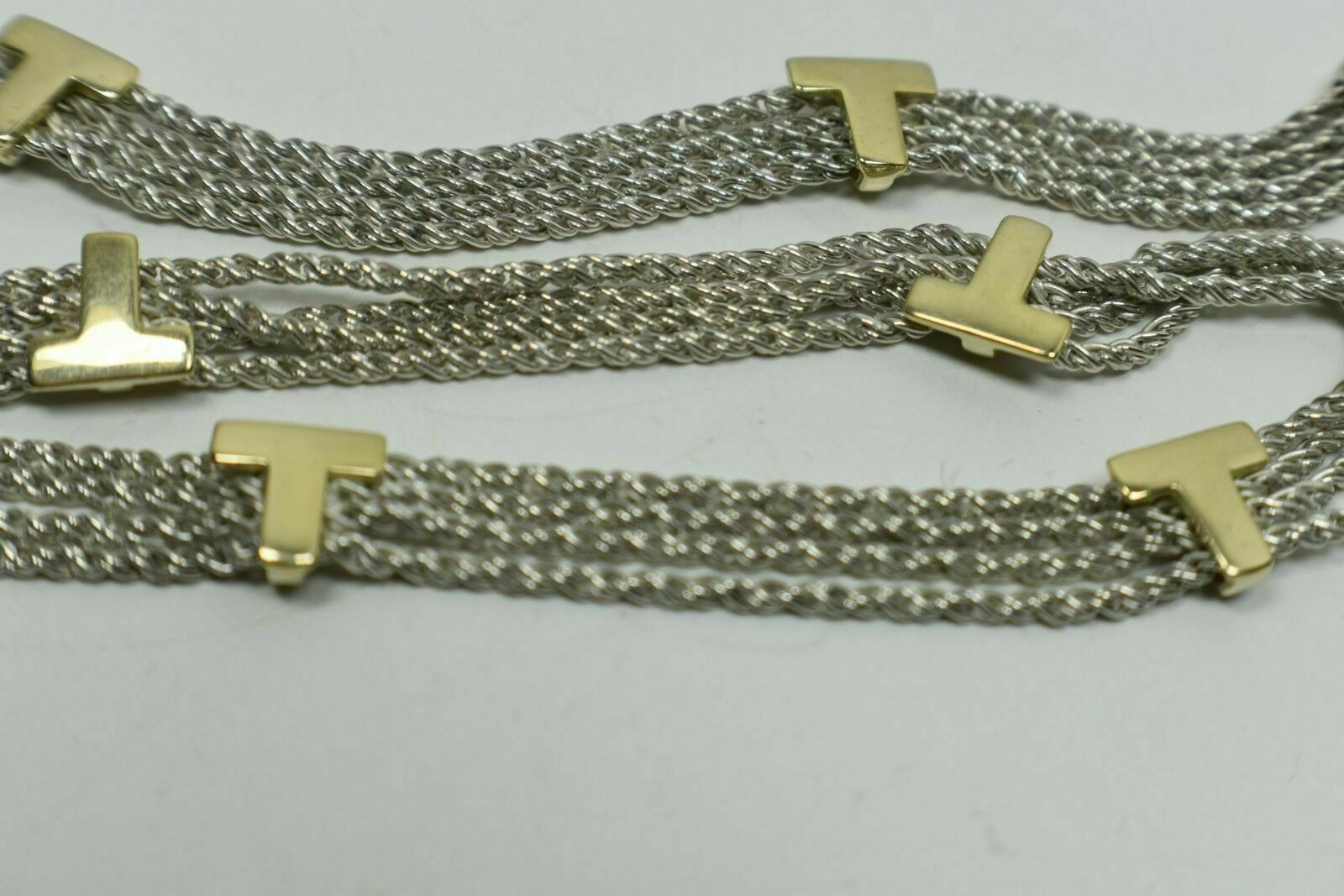 "Primary image for RARE Tiffany & Co Gold 'T' Initial 4 Strand Sterling Silver Necklace 16.5"" Italy"