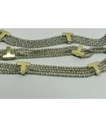 """RARE Tiffany & Co Gold 'T' Initial 4 Strand Sterling Silver Necklace 16.5"""" Italy - $595.24"""